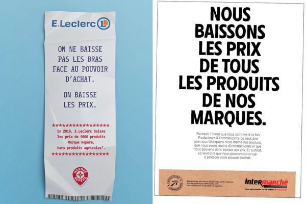 Leclerc et Intermarché ont lancé des campagnes de communication pour contrer la hausse des prix.