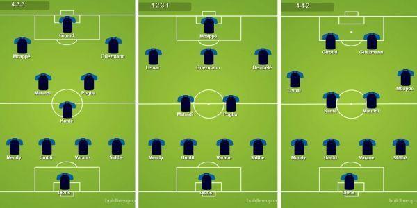 Trois compositions d'équipe pour l'équipe de France.