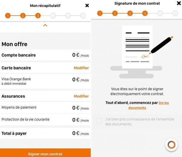 Un contrat Orange Bank, que l'on signe électroniquement.
