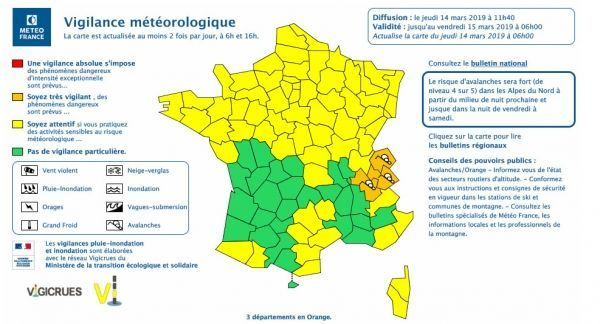 vigilance météo crédit : Météo France