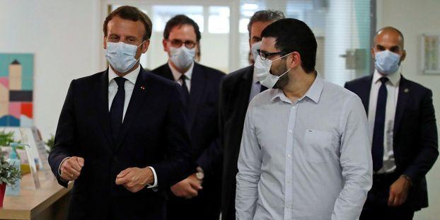 Emmanuel Macron lors de sa visite à la maison de santé pluridisciplinaire de Pantin.