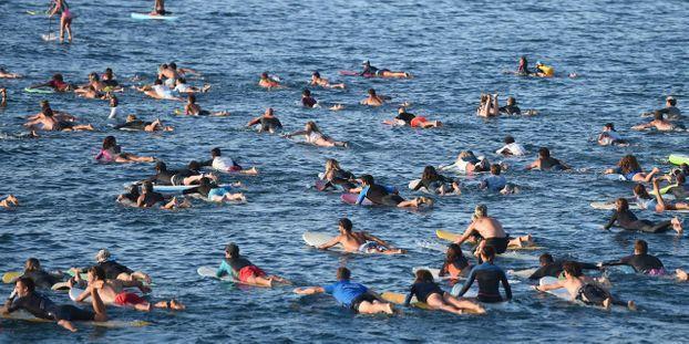 G7 : plus de 350 surfeurs se jettent à l'eau pour défendre les océans