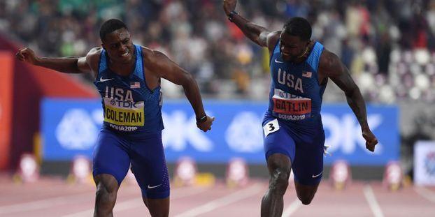 Doha - Le Français Jimmy Vicaut et les deux grands favoris du 100 m des Mondiaux de Doha, les Américains Christian Coleman et le tenant du titre.
