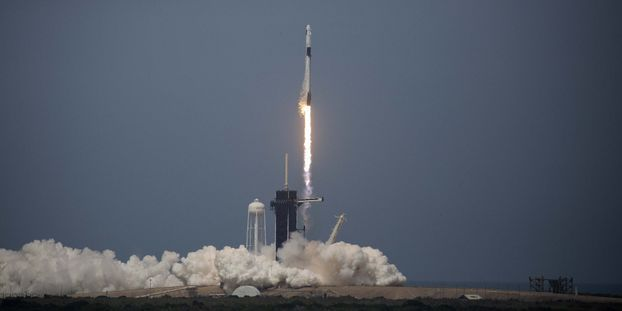 The SpaceX rocket took off from the Kennedy Space Center in Florida.
