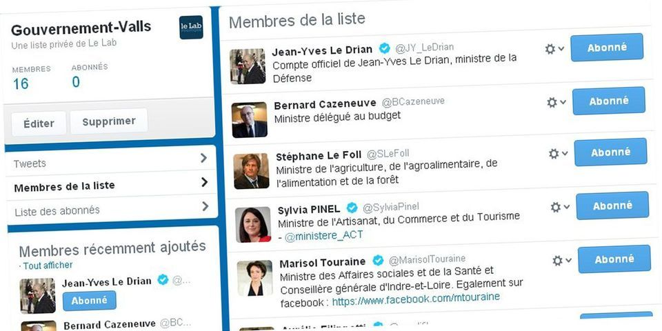 16 ministres sur 17 ont un compte : voici la liste Twitter du gouvernement Valls I