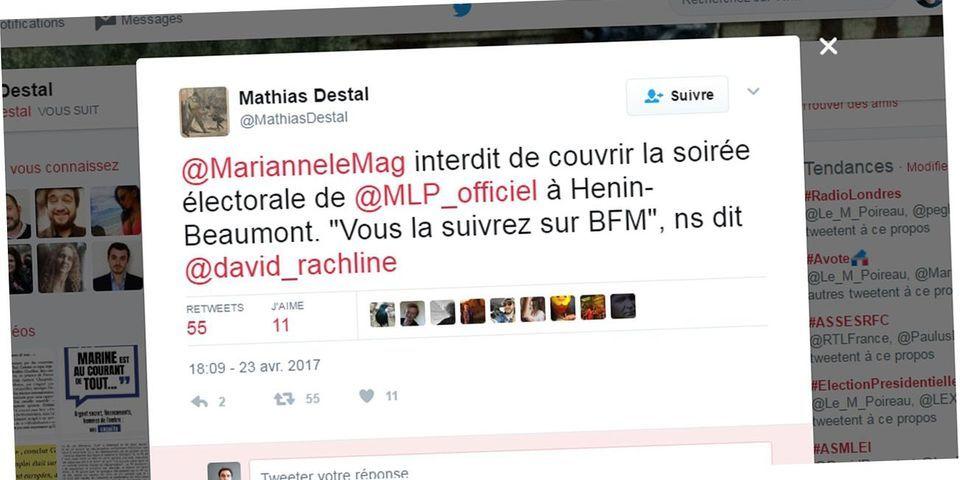 Accrédité, un journaliste de Marianne est interdit de couvrir la soirée électorale de Marine Le Pen
