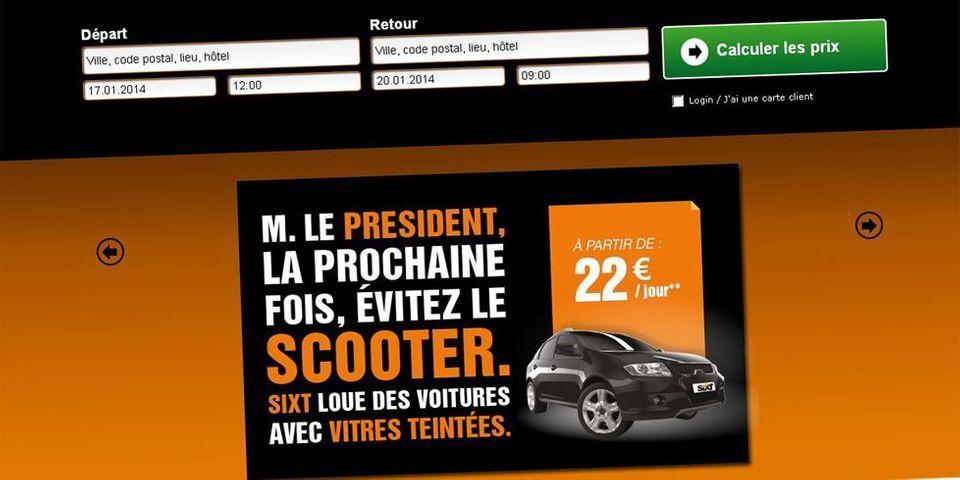 Le loueur Sixt fait sa publicité en recommandant à Hollande de ne plus prendre son scooter