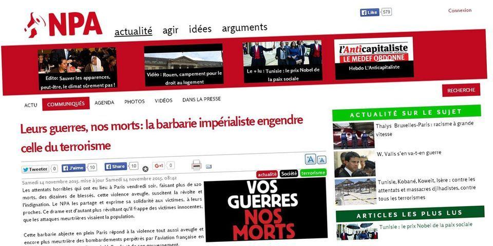 """Attentats de Paris : le NPA """"refuse l'union nationale"""" et """"demande la levée de l'état d'urgence"""""""
