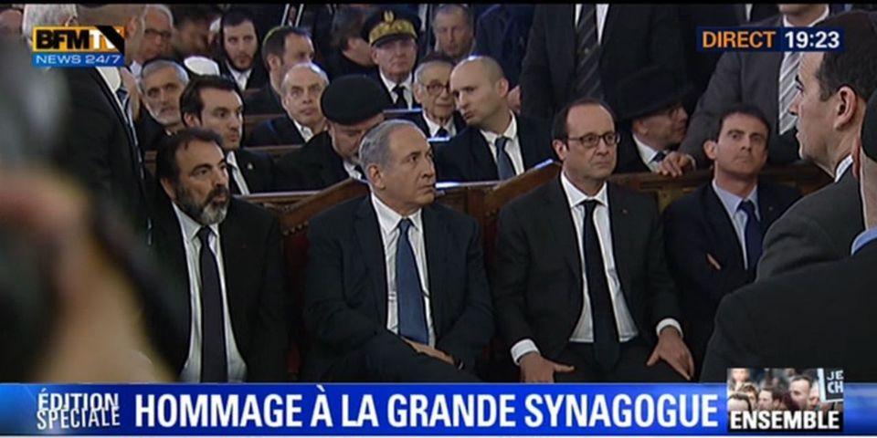 Attentats: François Hollande présent à l'hommage de la Grande synagogue de Paris avec Benyamin Netanyahou