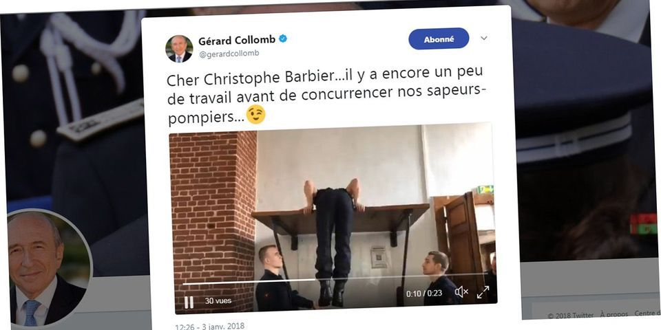 Bienvenue en 2018 : le ministre de l'Intérieur tweete une blague sur un éditorialiste qui fait le poirier à la télé