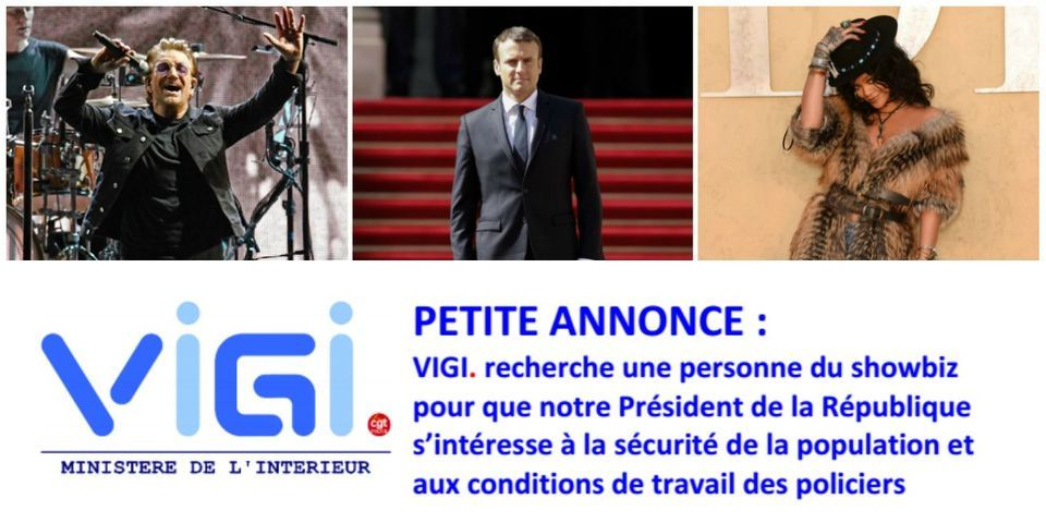 """Bono et Rihanna à l'Élysée : pour être lui aussi reçu par Macron, un syndicat de police passe une """"petite annonce"""" pour trouver une """"personne du showbiz"""""""