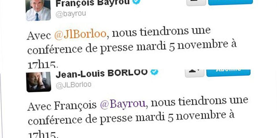 Borloo et Bayrou annoncent leur mariage par un double tweet