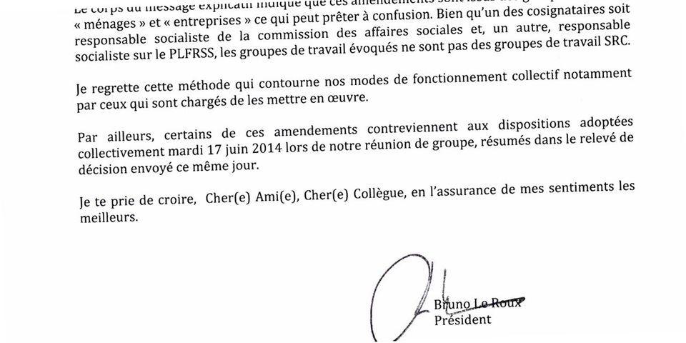 Budget rectificatif : dans une lettre adressée aux députés PS, Bruno Le Roux  dit regretter la méthode des frondeurs