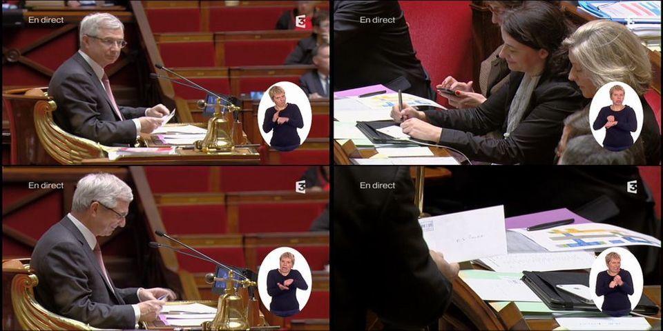 Cécile Duflot et ses petits mots doux à Claude Bartolone à l'Assemblée