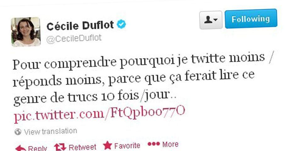 """Cécile Duflot tweete une photo des messages d'insultes qu'elle reçoit et Christine Boutin y voit """"des points communs"""""""