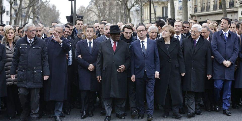Charlie Hebdo : Hollande, Sarkozy et une cinquantaine de dirigeants étrangers dans une marche républicaine historique