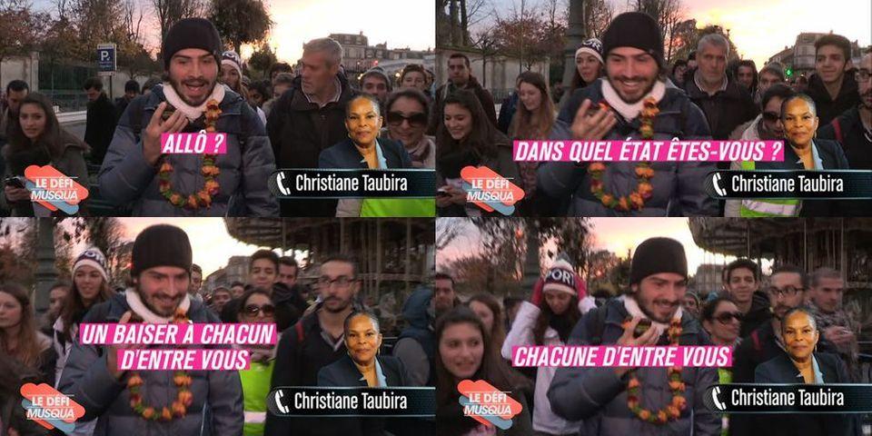 Christiane Taubira téléphone et envoie ses baisers aux participants de la Marche du Petit Journal contre le racisme