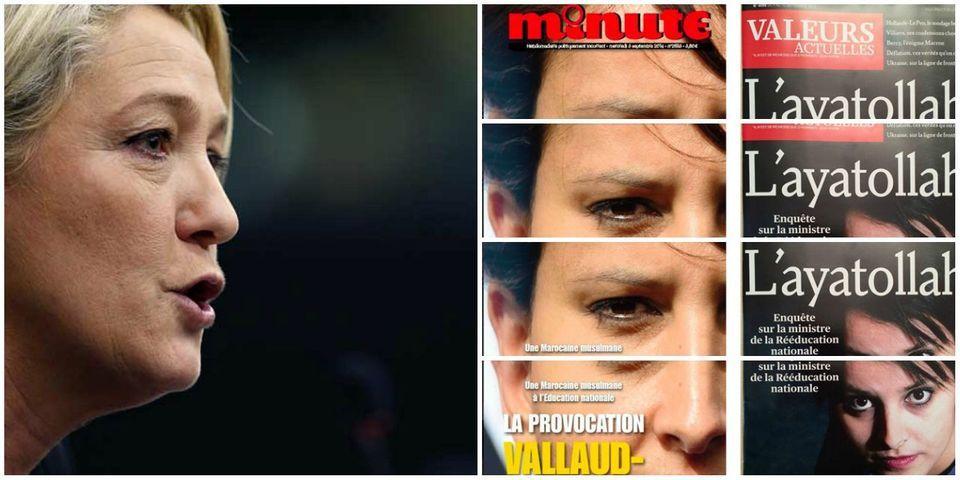 Comment ne pas condamner les unes de Minute et de Valeurs actuelles contre Najat Vallaud-Belkacem, par Marine Le Pen
