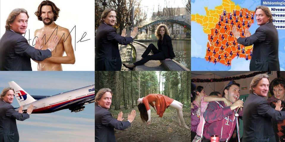 Concours de parodies avec Charles Beigbeder collant des affiches à Paris