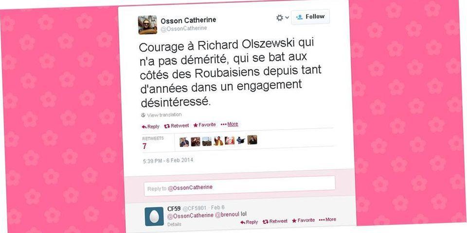 """""""Courage à Richard Olszewski qui n'a pas démérité..."""": le tweet façon @valtier de la compagne du député-maire de Wattrelos"""