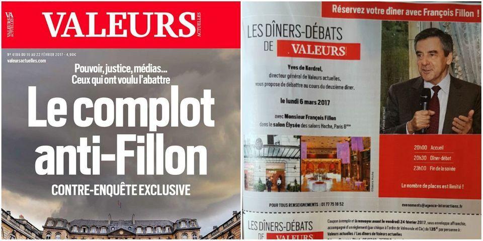 """Dans son numéro """"contre-enquête"""" sur l'affaire Fillon, """"Valeurs Actuelles"""" propose un dîner-débat avec François Fillon"""