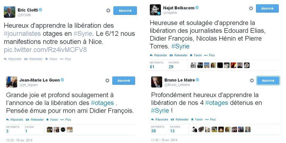 De nombreux politiques saluent la libération des quatre journalistes otages en Syrie