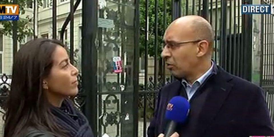 """Des militants de """"Génération Identitaire"""" sur une terrasse du Parti socialiste, rue de Solférino"""