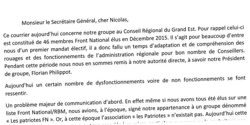 DOCUMENT - Des conseillers régionaux FN écrivent à Nicolas Bay pour se plaindre de Florian Philippot