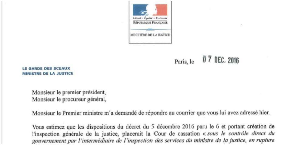 DOCUMENT LAB : la réponse du ministre de la Justice aux accusations de la Cour de cassation sur la volonté du gouvernement de la contrôler