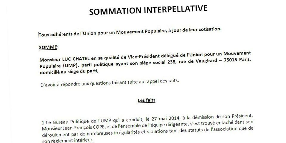 Document Lab: six militants font sommation à Luc Chatel de prendre la tête de l'UMP
