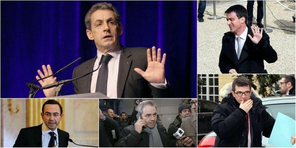 """Du """"no comment"""" de Valls au large sourire de Sarkozy : les réactions de la classe politique à la crise du FN"""