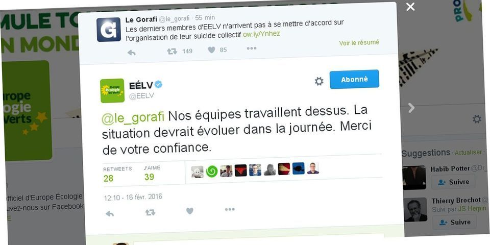 """EELV s'amuse de son propre """"suicide collectif"""" dans un échange avec """"Le Gorafi"""" sur Twitter"""