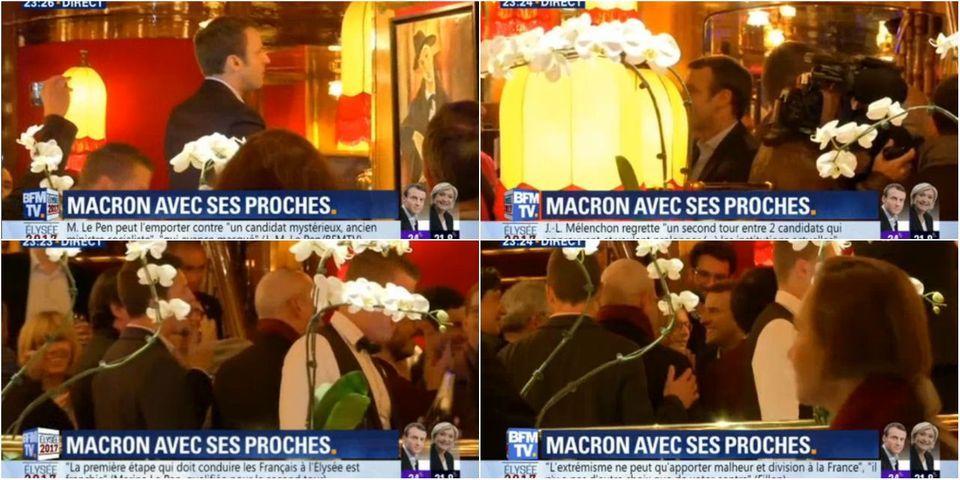 Emmanuel Macron célèbre sa qualification dans le même restaurant que François Hollande après la primaire en 2011
