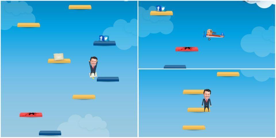 """Et là, l'équipe de Christian Estrosi crée un jeu """"Doodle Jump"""" à son effigie"""