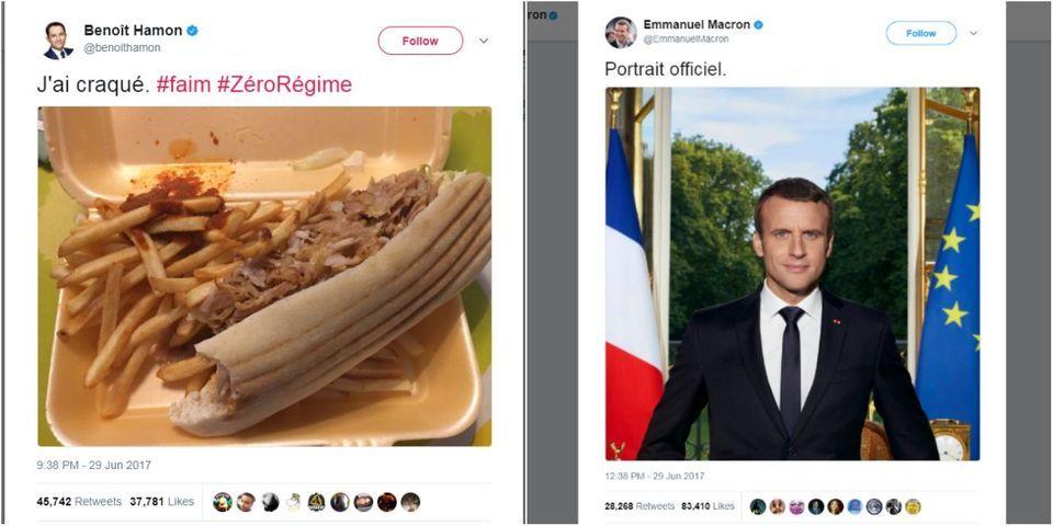 Et le kebab nocturne de Benoît Hamon dépassa le portrait officiel d'Emmanuel Macron en nombre de retweets