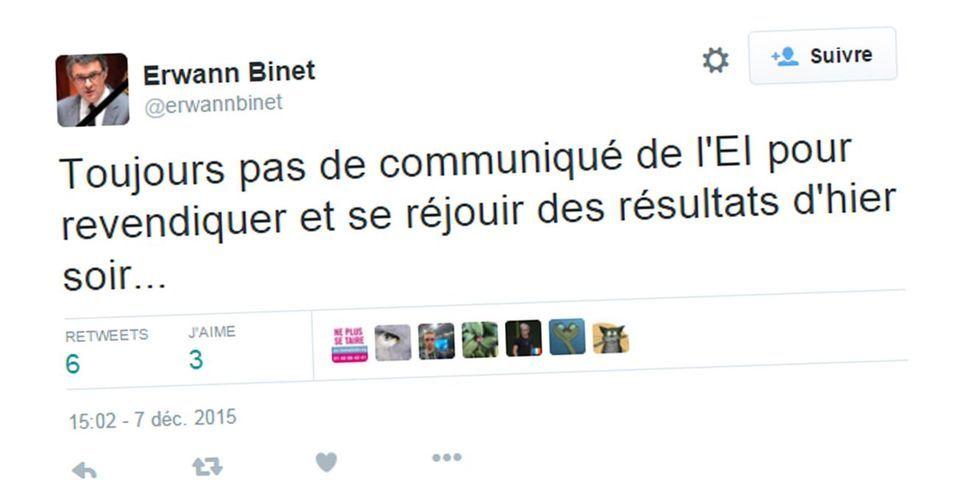Et pendant ce temps-là, le député PS Erwann Binet se demande où est le communiqué de Daesh se félicitant des scores du FN