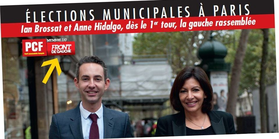 Pas de logo Front de gauche sur les affiches et professions de foi d'Anne Hidalgo à Paris