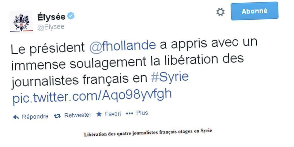François Hollande annonce la libération des quatre journalistes français détenus en Syrie