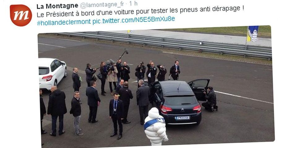 François Hollande découvre à Clermont-Ferrand des pneus Michelin anti-dérapage