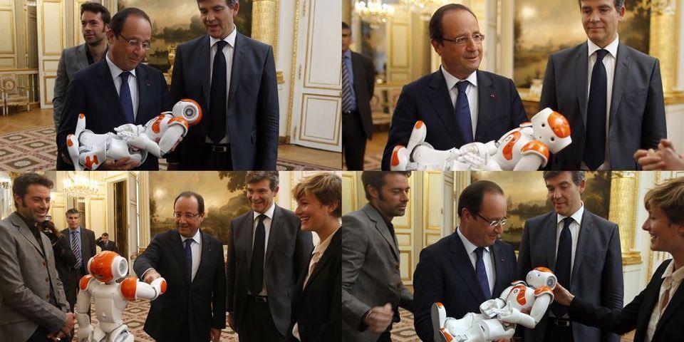 François Hollande et Arnaud Montebourg rencontrent un robot ...