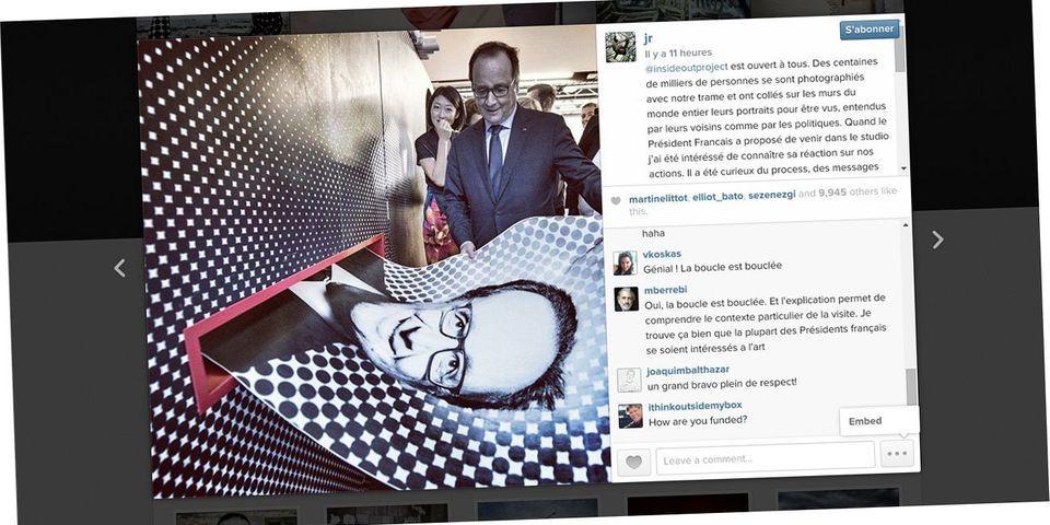 François Hollande se fait tirer le portrait par le photographe JR