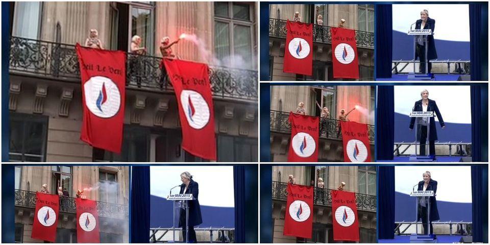 """""""Heil Le Pen"""" : quand les Femen perturbent le discours de Marine Le Pen"""