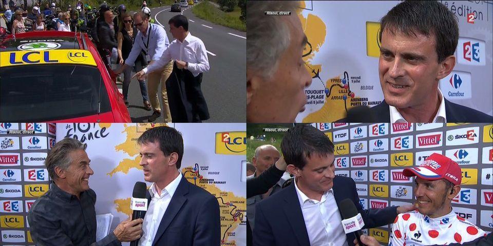"""[Images] Manuel Valls en """"vacances"""" sur le Tour de France"""