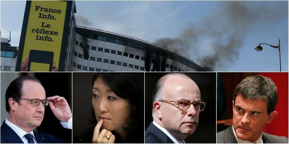 """Incendie à la Maison de la Radio : Hollande """"attentif et mobilisé"""", Valls exprime sa """"solidarité"""", Pellerin et Cazeneuve sur place"""