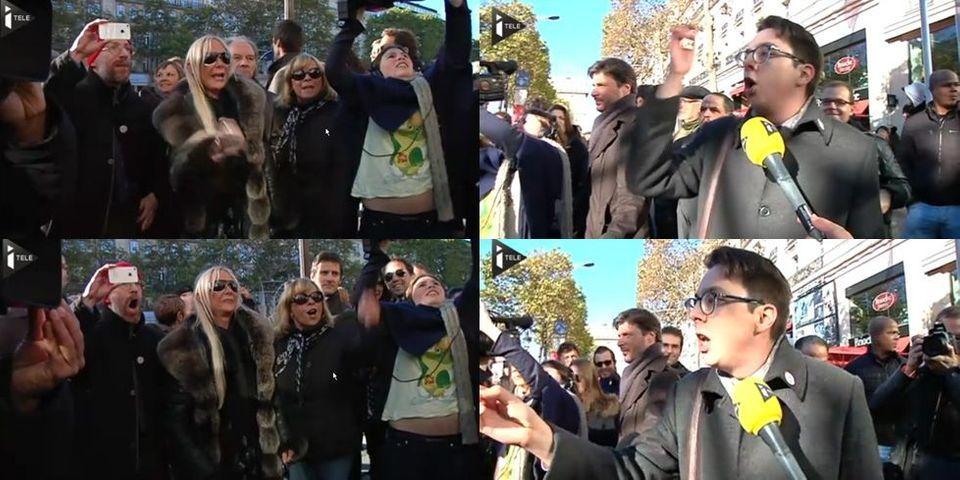 Instant télé : un homme s'oppose aux manifestants anti-Hollande sur les Champs-Elysées