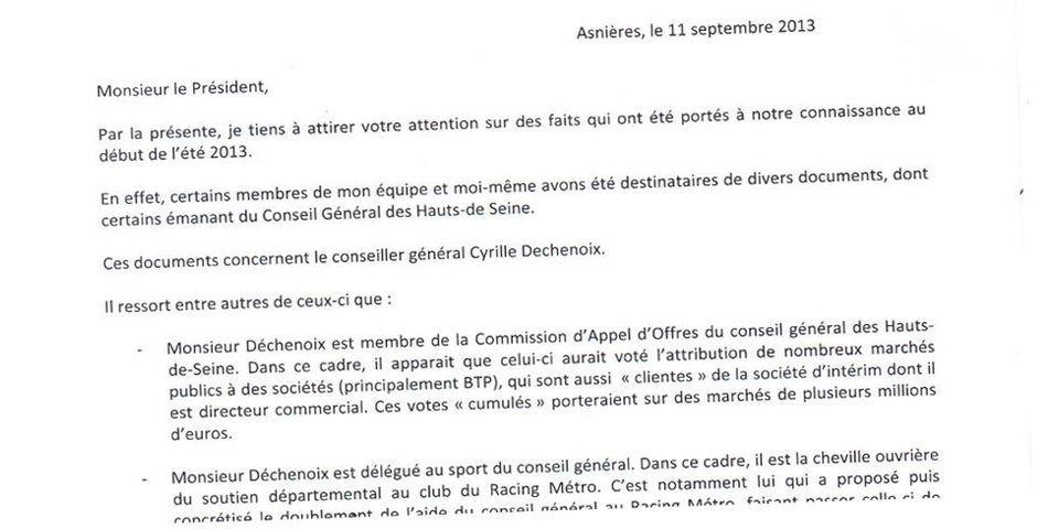 Asnières 2014 :  Aeschlimann écrit à Devedjian pour balancer les conflits d'intérêts de son concurrent pour l'investiture UMP, Déchenoix
