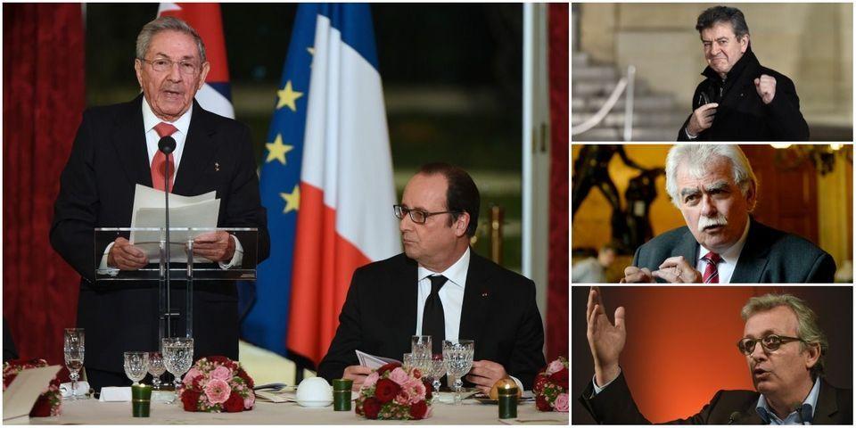 Jean-Luc Mélenchon, André Chassaigne et Pierre Laurent vraiment très très contents de leur dîner à l'Elysée avec Raul Castro