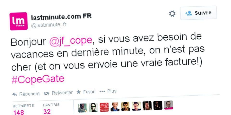 L'agence de vacances en ligne Lastminute profite de l'affaire Bygmalion pour proposer ses services à Jean-François Copé