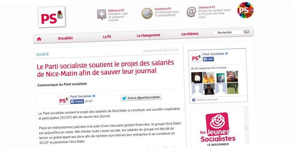 """L'appel aux dons du Parti socialiste pour sauver """"Nice-Matin"""""""