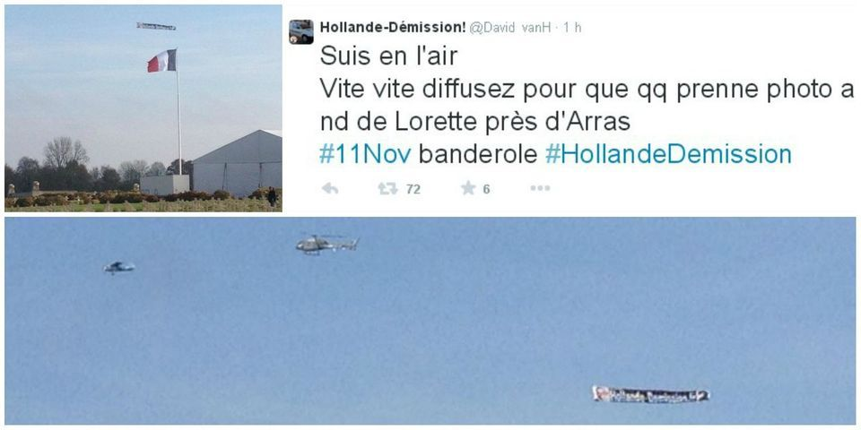 """L'avion """"Hollande démission"""" survole le mémorial de Notre-Dame-de-Lorette avant l'arrivée de Hollande"""